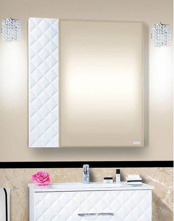 Зеркало ЖАКЛИН 80 белый глянец/стразы