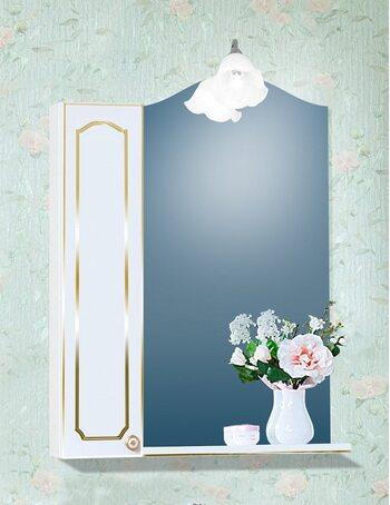 Шкаф-зеркало ЛЮЧИЯ 45 со шкафчиком ЛЮЧИЯ 20 белый глянец/золото