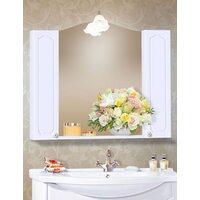 Шкаф-зеркало ЛЮЧИЯ 58 с двумя шкафчиками ЛЮЧИЯ 20 белый глянец