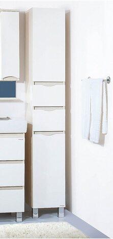 Пенал c бельевой корзиной ТОКИО 32 универсальный светлая/белый глянец