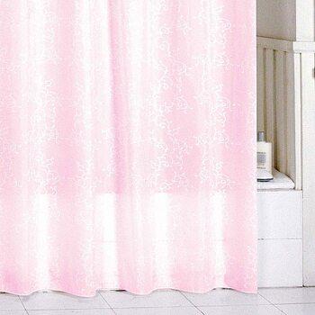 Штора для ванной комнаты, 180*200 см, полиэстер, pink leaf, SCMI085P