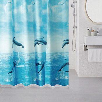 Штора для ванной комнаты, 180*180 см, PEVA, Dolphins, Milardo, 519V180M11