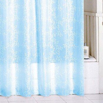 Штора для ванной комнаты, 180*200 см, полиэстер, blue leaf, SCMI083P