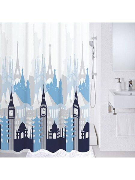 Штора для ванной комнаты, 180*200 см, полиэстер, Travel memories, Milardo, 780P180M11