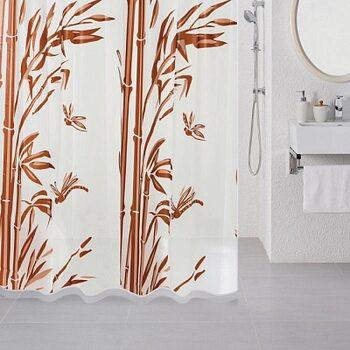 Штора для ванной комнаты, 180*180 см, PEVA, Bamboo (brown), Milardo, 511V180M11