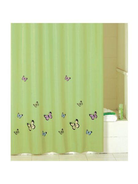 Штора для ванной комнаты, 200*200 см, полиэстер, green butterfly, SCID032P