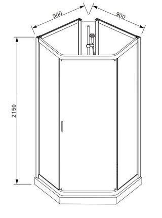 WATERFALL Душевое ограждение  900x900x2150 Bravat BC090.6100A