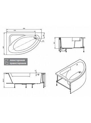 Ванна ассиметричная Welna левая,160*100, без монтажного комплекта, ZRU9302997, Roca