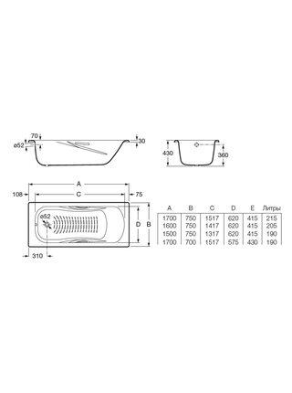Ванна стальная Roca PRINCESS 170*75 с ножками и ручками 2202E0000