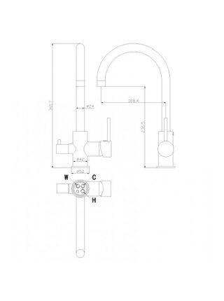 Смеситель для кухни Rossinka Z35-28 с каналом для фильтра