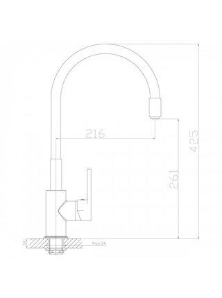 Смеситель для кухни Rossinka Z35-35U-Black гибкий, черный