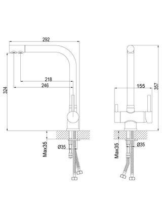 Смеситель для кухни Rossinka Z40-25 с каналом для фильтра