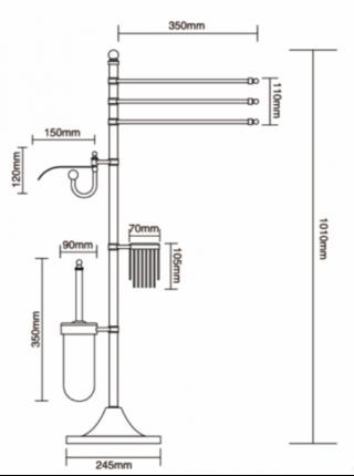 A903-4 Стойка 4-х функциональная для ванной Faop