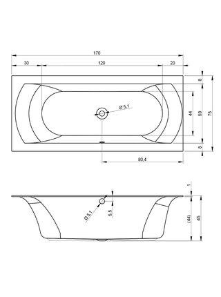 Ванна акриловая LINARES VELVET 170x75, BT4410500000000, Riho