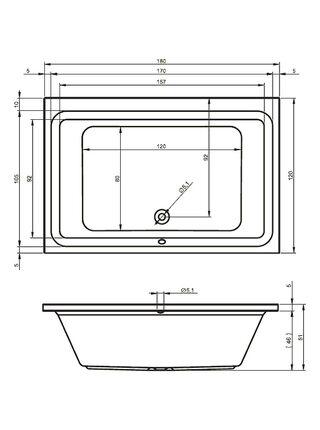 Ванна акриловая CASTELLO 180x120, BB7700500000000, Riho