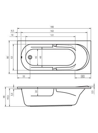 Ванна акриловая FUTURE 180x80, BC3100500000000, Riho