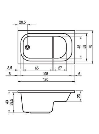 Ванна акриловая PETIT 120x70, BZ2500500000000, Riho