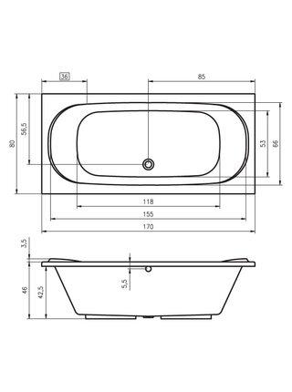 Ванна акриловая TAURUS 170x80, BC0700500000000, Riho