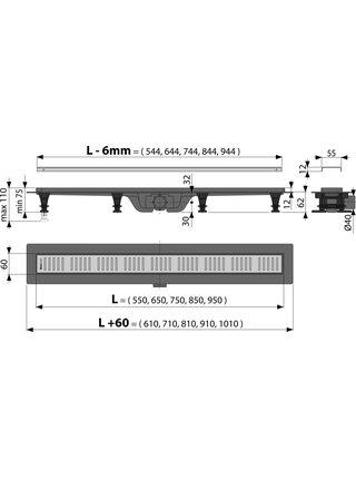 Душевой лоток AlcaPlast APZ10-650 Simple