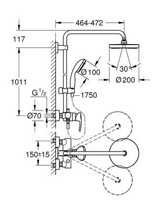 Душевая система GROHE New Tempesta 200, хром (26244001)