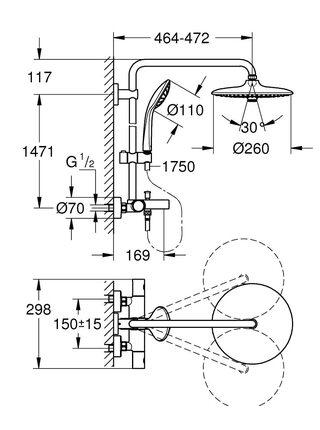 Душевая стойка для ванны Euphoria 260 с термостатом Grohe (27475001)