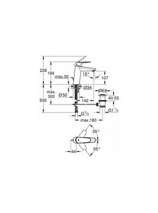 Смеситель для раковины GROHE Eurodisc Cosmopolitan с донным клапаном, средний излив, хром (23448002)
