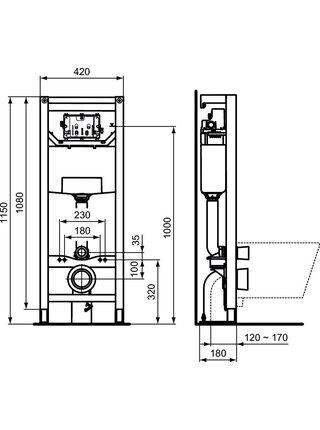 Инсталляция для унитаза Ideal Standard Prosys Frame 120 M (R020467)