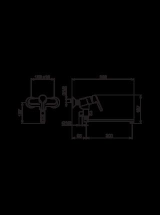 3942HY ORAS Смеситель для ванны и душа 300 ммSAGA STYLE