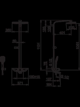 7591U-11 Смеситель с верхним душем Oras Esteta