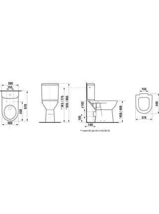 Унитаз-компакт JIKA Deep by Jika высокая с сиденьем микролифт (8.2361.6.000.000.1)