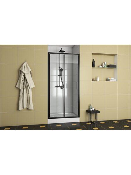 BLACKLINE Душевая дверь 1000*2000, черный, Bravat BD100.4121B