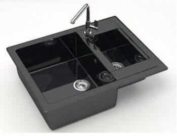 Мойка прямоугольная 1,5чаши (615х500х210) Санди Z19Q4 (черный)
