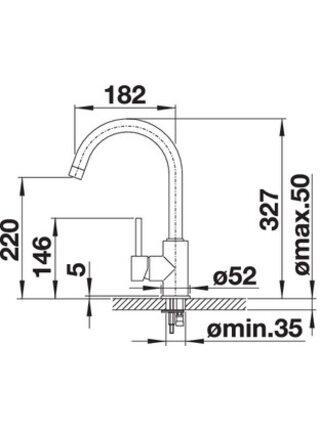 524202 Смеситель BLANCO MIDA SILGRANIT антрацит