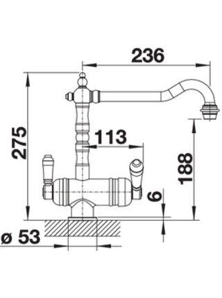 524218 Смеситель BLANCO SORA полированная латунь