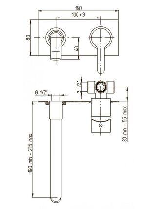 92CR208P Смеситель для раковины настенный Paini Arena