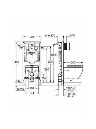 Комплект: Инсталляция Solido 4 в 1 + подвесной унитаз EURO CERAMIC сидение с микролифтом Grohe (39536000)