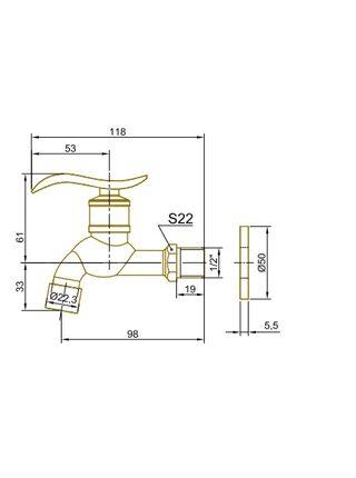 Кран сливной для бани/хамама (насадка-рассекатель) Bronze de Luxe 21974/1