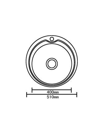 Мойка врезная нержавеющая D510 *180 (0.8 мм)