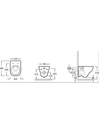 Унитаз подвесной укороченный Jacob Delafon Struktura EDF102-00 +сидение  E70025-00
