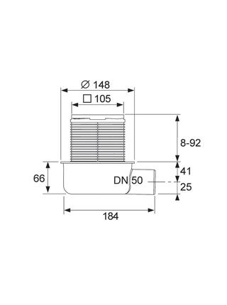 Трап дренажный TECEdrainpoint S 50 низкий горизонтальный без фланца 3601050