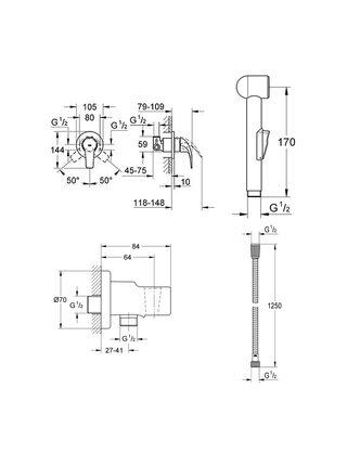 Встраиваемый смеситель с гигиеническим душем BAU CLASSIC 124434 Grohe