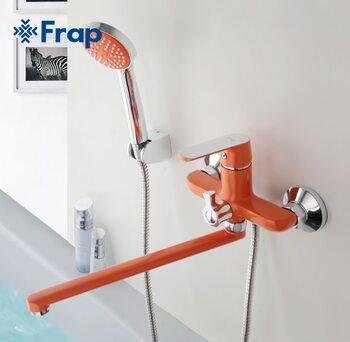 F2232 Смеситель для ванны, оранжевый/хром FRAP