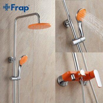 F2432 Душевая система со смесителем с изливом, оранжевый/хром FRAP