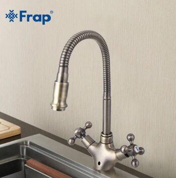 F4319-4 Смеситель для кухни гибкий излив, бронза FRAP