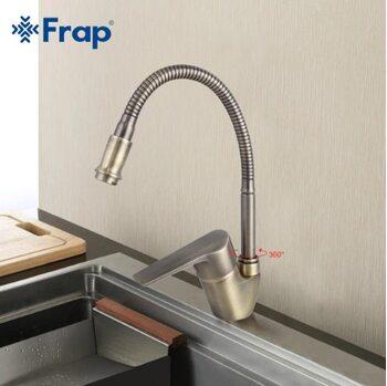 F4330-4 Смеситель для кухни, бронза гибкий излив FRAP