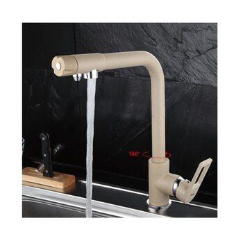 F4372-20 смеситель для кухни с подключением фильтра питьевой воды, бежевый FRAP