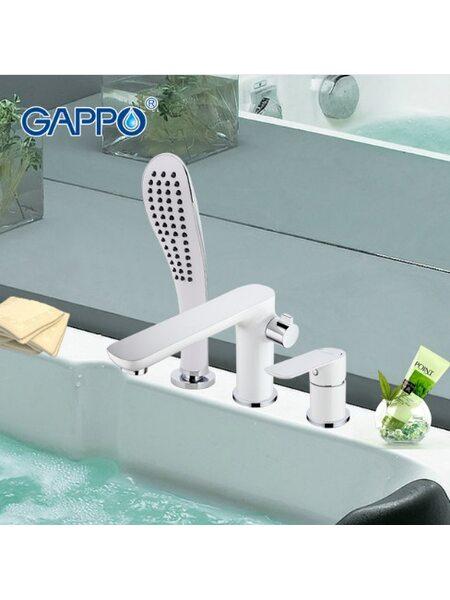 G1148 Смеситель для ванной врезной на 3 отверстия, белый GAPPO