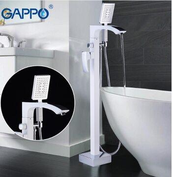 G3007-8 Смеситель для ванны напольный, белый/хром GAPPO