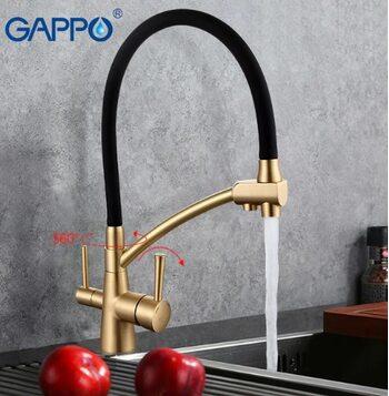 G4398-1 Смеситель для кухни с фильтром д/питьевой воды, бронза+чёрный силиконовый носик GAPPO