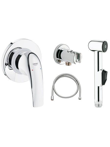 Готовый комплект для гигиенического душа GROHE BauCurve: встраиваемый смеситель, гигиенический душ со шлангом и держателем, хром (123072)